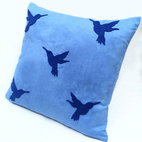 Navy Humming Birds On Blue Suede Pillow Cover. Hand Cut Modern Birds Cushion Cover. Summer Decorative Throw Pillow