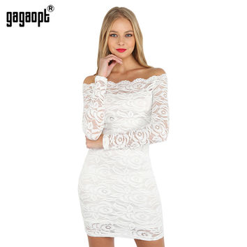 Gagaopt 2017 New Trendy Patchwork Lace Dress Off the Shoulder Sexy Slim Women Dresses Party Dresses Vestidos Robes