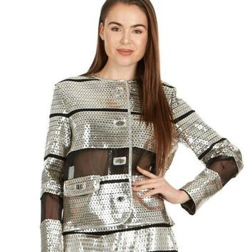 Tom Ford Womens Silver Leather Sequin Applique Jacket