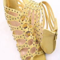 YELLOW GLITTER STUDDED STRAPPY FLAT LOW WEDGE SANDALS