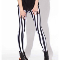 Stretchy Black and White Vertical Striped Print Tights Leggings