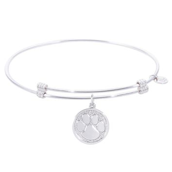 Sterling Silver Alluring Bangle Bracelet With Pawprint Charm