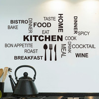 2015 Modern romantic Kitchen Restaurant vinyl stickers wall Decals kitchen decor Mural Wallpaper Drop Shipping