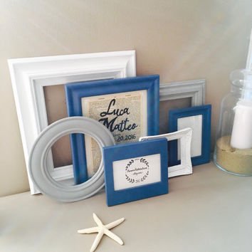 Nautical Theme Nursey Decor; Personalized Decoratove Frames; Baby Room Gallery Wall Frames; Custom Birth Announcement; Gift for New Mom;