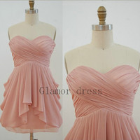 short chiffon bridesmaid dresses     pink sweetheart bridesmaid gowns     simple sky blue prom dress homecoming dresses