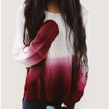 Women Sweater 2016 New Arrival Fashion Pullovers Patchwork Long Sleeve O-Neck Loose Knitted Sweaters High Quality