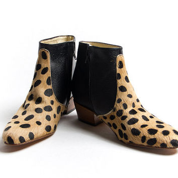 animal print beatle boots  faux leopard skin beatle by goodbyefolk