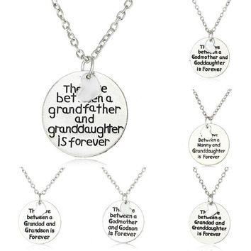 Family Mother Father Godmother Grandad Nanny Grandson Granddaughter Love Forever Pendant Necklace Silver Plated Heart Gift Party