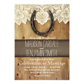 Country Western Horseshoe Lace Wedding Invitations