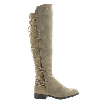 Oksana118 Taupe Suede Knee High Riding Boots w/ Stretchy Elastic Back Gore & Laced Design