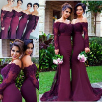 Wedding Party Dress Burgundy Bridesmaid Dress vestidos largos Satin Long Lace Beaded Mermaid Bridesmaid Dress With Long Sleeves