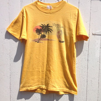 Vintage Tee Shirt Mustard Yellow Beach Daytona Beach Surfer 70s hippie