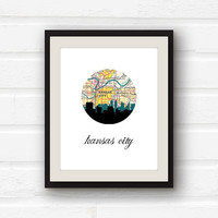 Kansas City Art - Kansas City map  -Kansas City Skyline- 5x7 Kansas City Print - City Skyline print