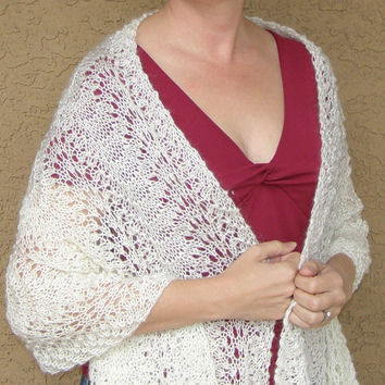 Winter Whites - Romantic Cream Lace Shawl