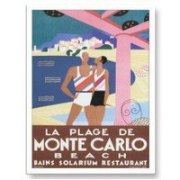 Vintage Monte Carlo Monaco Travel Poster Art Postcards