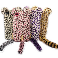 3D Cute Fur Plush Leopard Back Case Cover Skin for iPhone 4 4S 4G 5 5G with tail