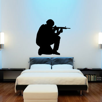 Army guy soldier silhouette wall decal