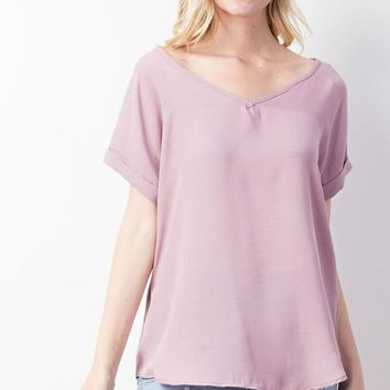 V Neck Cuffed Short Sleeve Top