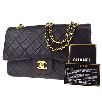 Auth CHANEL CC Matelasse Double Flap Chain Shoulder Bag Leather Black 697EB467