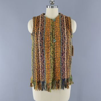 Vintage 1960s Fringed Serape Tunic Vest / SULTAN'S Shirt Tail