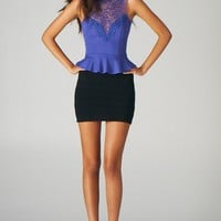 Lace Yoke Peplum Top (Purple)