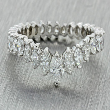 1950s Vintage Art Deco Platinum 2ctw Marquise Diamond Eternity Band Chevron Ring