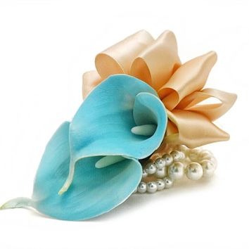 Calla Lily Pearl Wrist Corsages