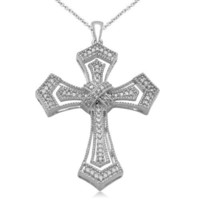 Sterling Silver Diamond Cross Pendant Necklace (1/5 cttw), 18""