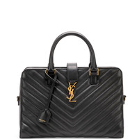 Saint Laurent Monogramme Small Matelasse Zip-Around Satchel Bag, Black