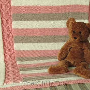 Hearts and Stripes: Knit Baby Afghan Pattern PDF