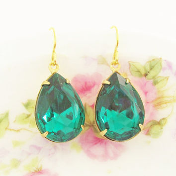 Emerald Green Rhinestone Earrings - Vintage Emerald Glass Jewel Gold Plated Ear Wire Dangle Wedding, Bridal, Bridesmaid