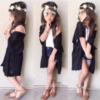 3 PC Outfit Set Tunic + White Top + Denim Shorts
