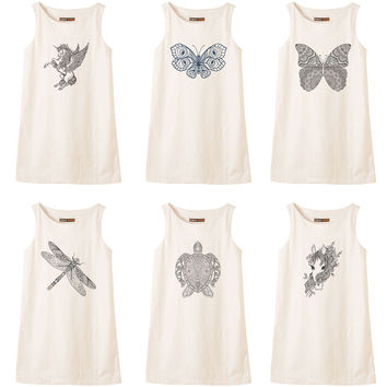 Animals drawing in black- white Printed Vintage Linen Mini Shift Dress WDS_01