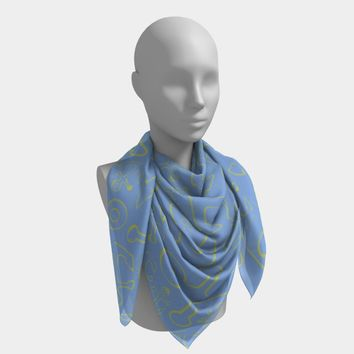 Anchor Dream Square Scarf - Yellow on Lt Blue