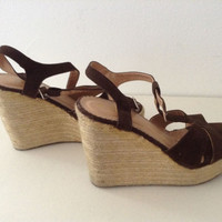 Women's Brown Strappy Wedge Sandals By Anna Size 10