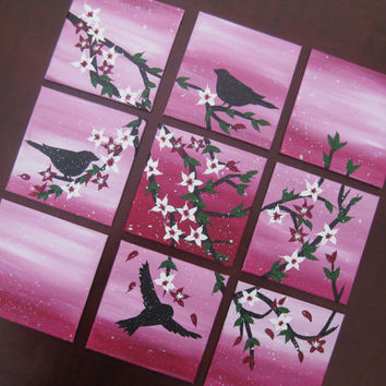 Pink cherry blossom and birds painting set of 9 canvases - small original tiny pretty paintings on canvas Japanese trees wall branch girls