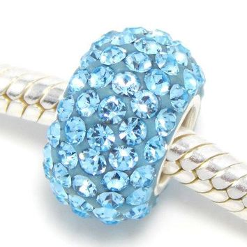 925 Sterling Silver quotLight Blue Crystalsquot Charm Bead fits Pandora bracelets