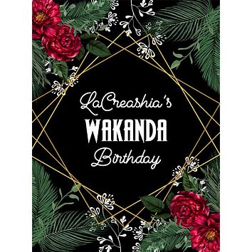 Custom Elegant Tropical Floral Wakanda Birthday Backdrop (Any Color) Background - C0293