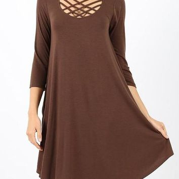 Lattice Top Dress with side pockets - Brown