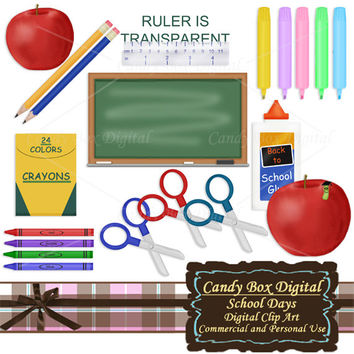 School Clip Art, school clipart, back to school, teacher clipart, crayon clipart, chalkboard clipart, student clipart - Commercial OK