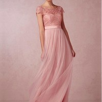 [72.99] Chic Tulle & Lace Bateau Neckline Full-length A-line Bridesmaid Dress - Dressilyme.com
