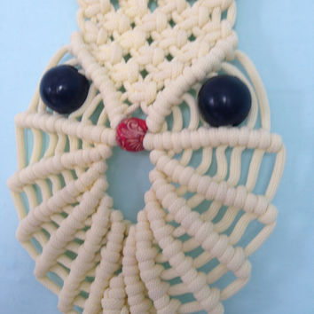 Macrame OWL/ Macrame Towel Ring/Creamy Towel Hanger/Macrame Towel Hook/Bathroom Decor