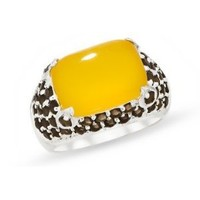 8 1/4 Carat Yellow Chalcedony  Smokey Quartz Sterling Silver Ring