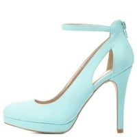 Mint Cut-Out Ankle Strap Mini-Platform Pumps by Charlotte Russe
