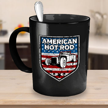 American Hot Rod Coffee Mug 11oz - 15oz White - Black Ceramic Cup, Classic Car Mug, Classic Auto Cup, Vintage Vehicle, Antique Automobile