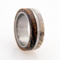 antler ring titanium ring with wood bocote deer by aboutjewelry