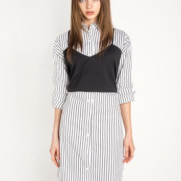 Pinstripe Tank Layered Shirt Dress