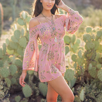 Little Love Off The Shoulder Floral Romper (Pink)