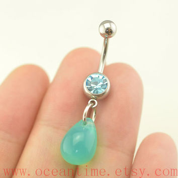 belly rings,belly button rings,blue drop bellybutton jewelry,body piercing,friendship bellyring,bff gift,oceantime