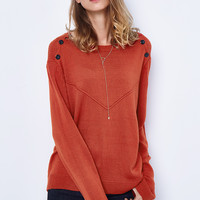 Cupshe For Her Pleasure Orange Casual Sweater